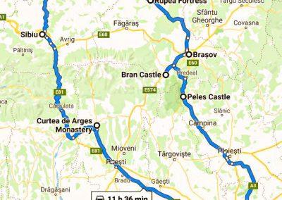 Map - Transylvania 3 Days Tour from Bucharest