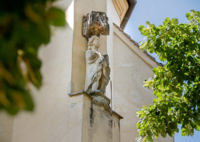 Outside statue on the church