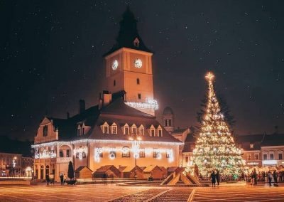 Night view of Brasov Council square with Christmas Tree