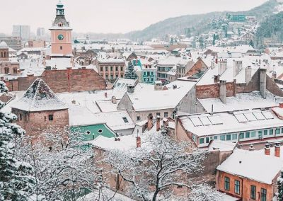 Brasov covered in snow
